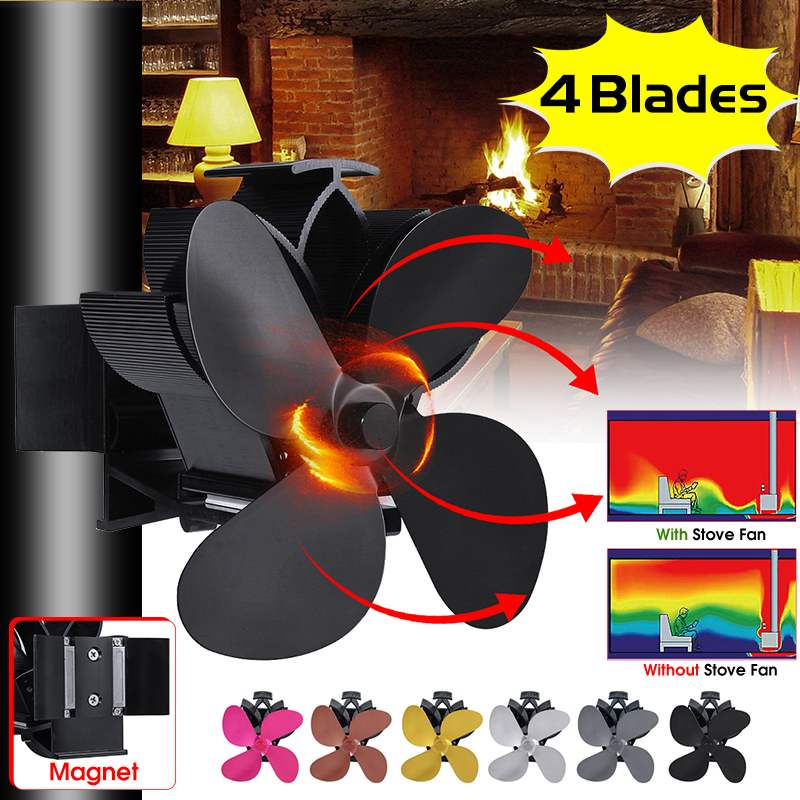 Mouted Type 4 Blades Heat Powered Stove Fan Log Wood Burner Ecofan Quiet Black Home Fireplace Fan Efficient Heat Distribution