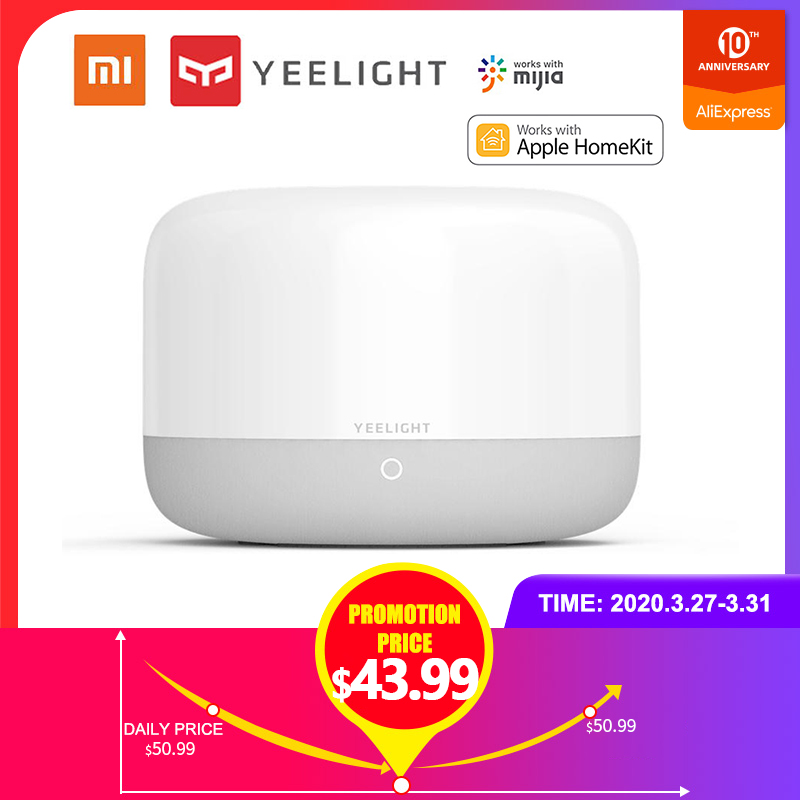 Xiaomi Yeelight Smart LED Bedside Lamp Colorful Night Light Table Lamp Soft Bright APP Voice Control Support Apple Homekit