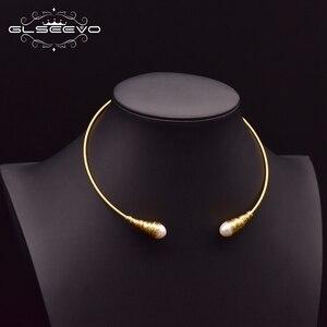 Image 2 - Glseevo natural água doce barroco pérola gargantilhas colar para mulheres colares de luxo colar de jóias finas hombre colar gn0048