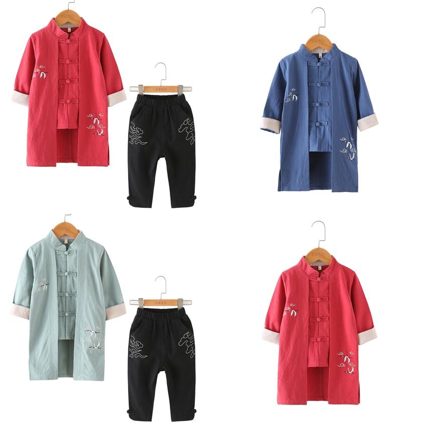 Samurai Japanese Style Kimono New Year Crane Haori Vintage Traditional Chinese Fashion Clothing Boys Hanfu Asian Coat