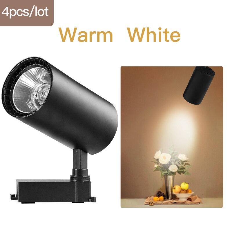 COB светодиодный Трековый светильник 220V 12/20 Вт, 30 Вт, 40 Вт регулируемый Точечный светильник Алюминий потолочный рельсы для Кухня магазин - Испускаемый цвет: Black-Warm White