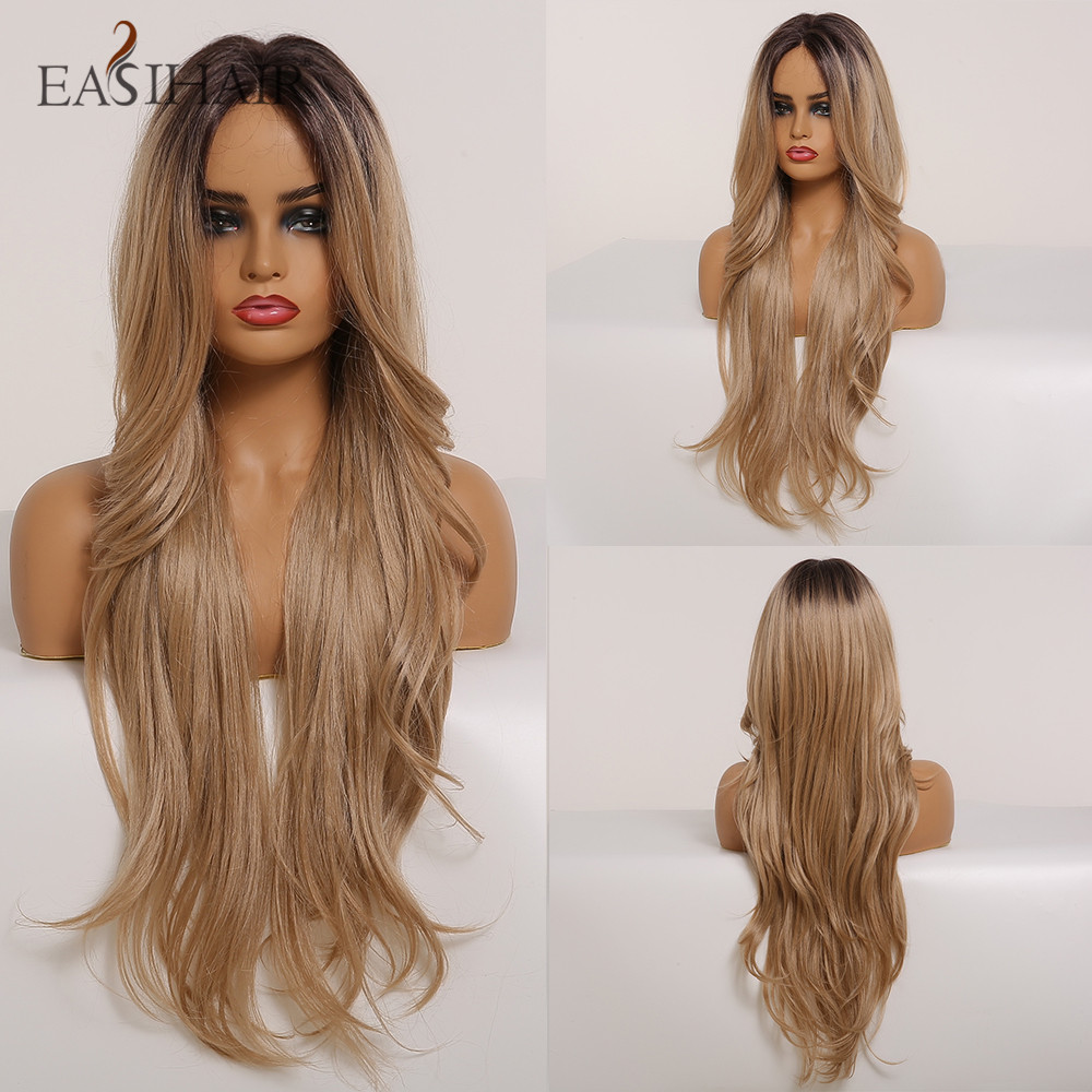 EASIHAIR Long Black To Brown Ombre Lace Front Synthetic Wigs For Women Layered Wave Hairstyles High Density Heat Resistant Wigs