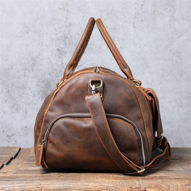 PNDME vintage large capacity genuine leather travel bag natural crazy horse cowhide handbag duffel bag real leather luggage bag 4