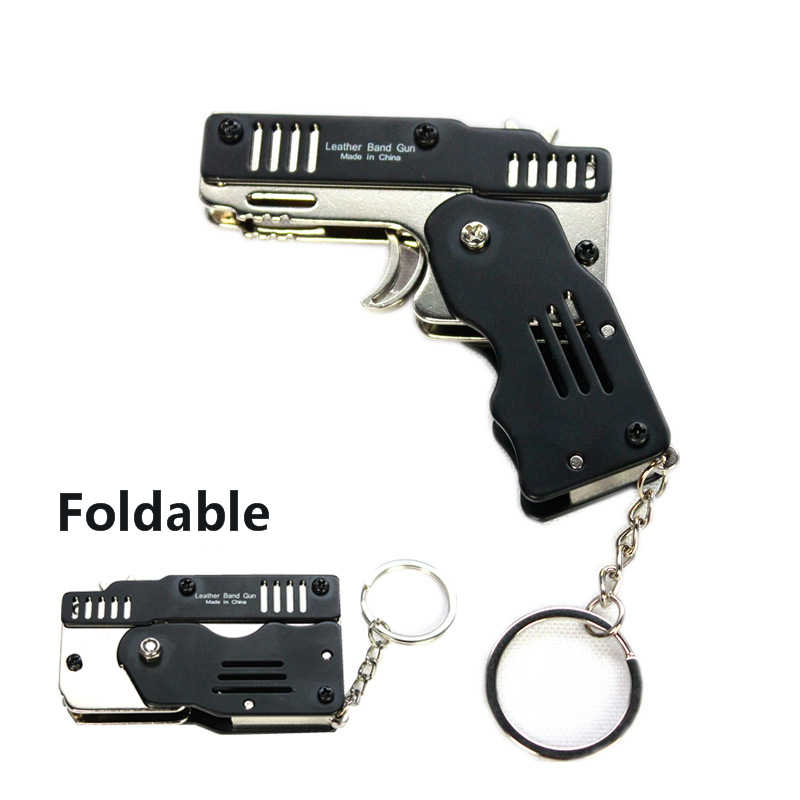 Mini Folding Six Bursts Rubber Band Gun Can Hold The Key Chain Made All Metal Guns Shooting Toy Gifts Boys Outdoor tools gift