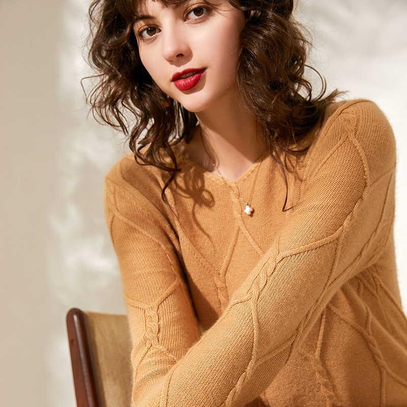Áo len dài tay len nữ chui đầu cổ tròn full Tay Thu Đông đan WAM nữ trơn Cài tóc hình Áo len dệt kim cổ đầm