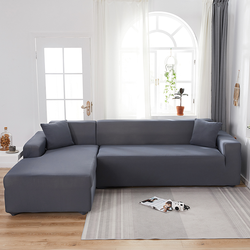 Solid Color Stretch Sofa Cover for Living Room Elastic Slipcovers Couch Cover L Shape Armchair Cover Single/Two/Three/Four Seat
