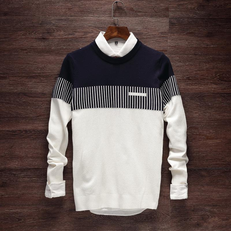 Men's Knitwear Korean Stripe Pullover Men's Round Neck Long Sleeve Sweater Men  Korean Fashion Clothing Male