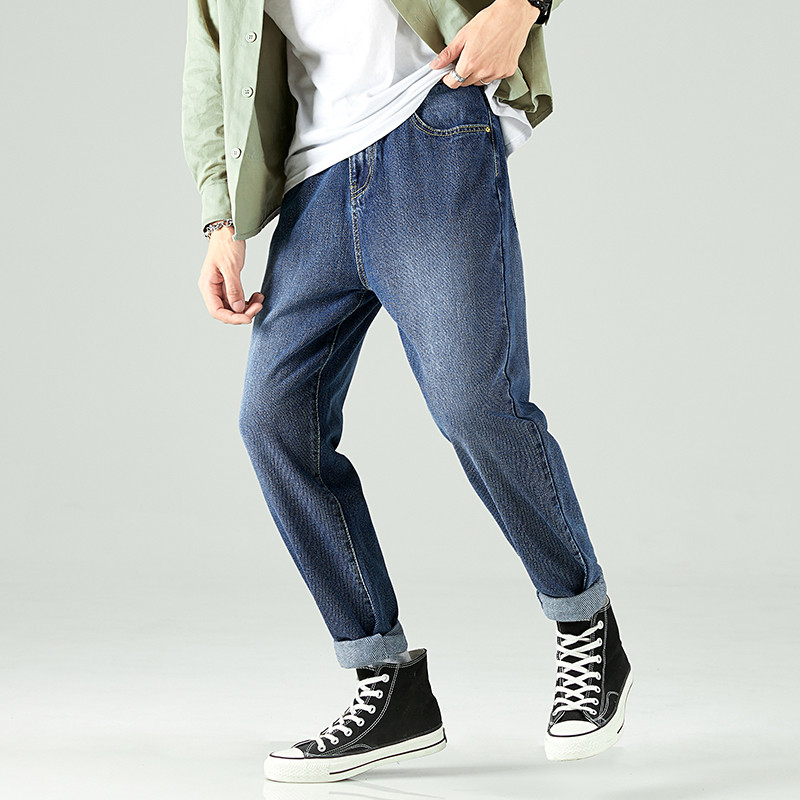 Fall 2019 Man Daily Jeans Slim Straight Loose Solid Blue Ankle length Men Casual Denim Pants Streetwear Club Outside Trousers in Jeans from Men 39 s Clothing