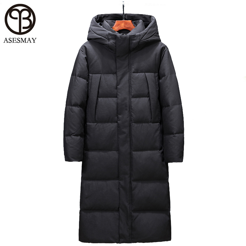 2019 Men Down Jacket  Brand Clothing Winter Coat X-long Men's Parkas Hooded Thicken Warm Goose Winter Jackets Snow Outerwear