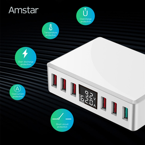 Image 5 - Amstar 40W Quick Charge 3.0 USB Charger Adapter 6 Ports Led Display QC3.0 USB Phone Charger for iPhone Samsung Huawei Xiaomi