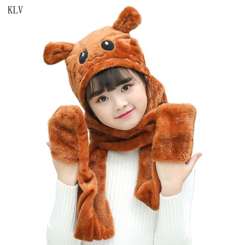 Unisex 3 In 1 Kids Scarf Hat Gloves Thick Plush Animal Pattern Hoodie Earflap