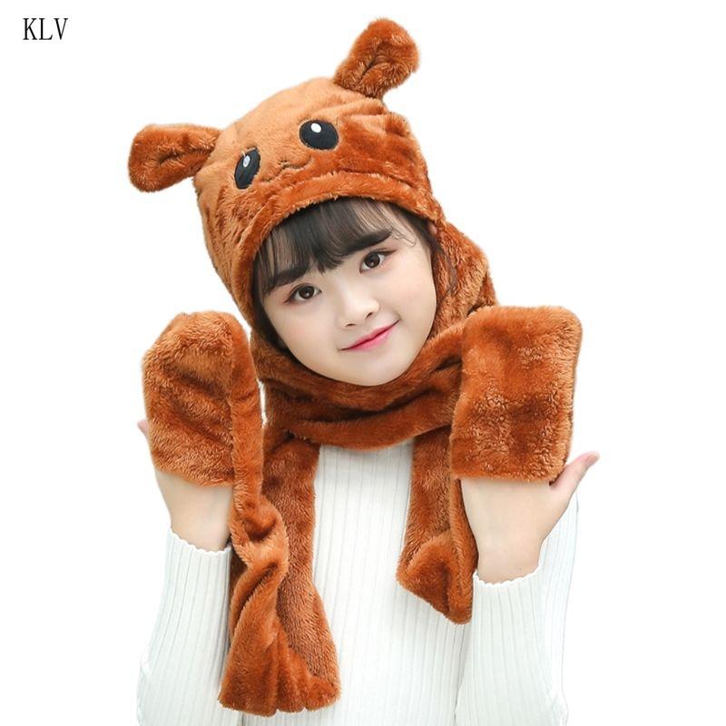 Unisex 3 In 1 Kids Scarf Hat Gloves Thick Plush Animal Pattern Hoodie Earflap
