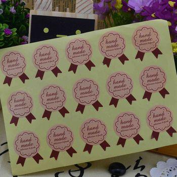 """Pegatinas de Papel Kraft con sello de papel """"hecho a mano"""", 5 unidades por lote, Para productos hechos a mano, etiquetas adhesivas para embalaje de panadería DIY"""