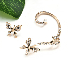 1 Pair Beauty Gold Butterfly Ear Cuff Clip Earrings Crystal Rhinestone ear cuffs Earring For Women Girl Er900