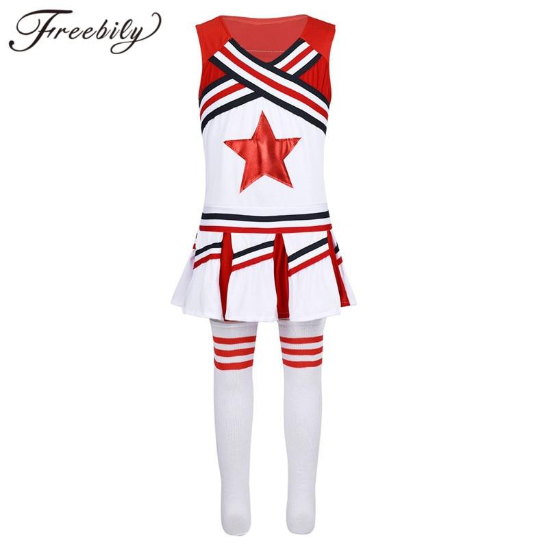 Filles Pom-Pom Girl Costume École moderne danse jazz Shiny Sequins Tops Shorts Set
