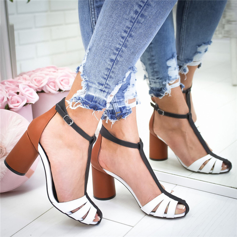 New High Heel Shoes 2020 Summer Woman Sandals Pointed Mouth Sandals Woman Buckle Women Sandals PU Sandalias Mujer Size Plus 43