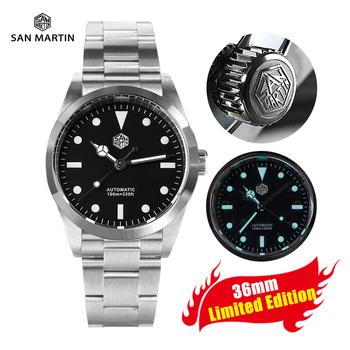 Nowy San Martin Explorer 36mm zegarek dla nurka mężczyźni Sport zegarek luksusowy marka Sapphire automatyczne mechaniczne zegarki 10Bar niebieski Luminous tanie i dobre opinie CN (pochodzenie) Składane bezpieczne zapięcie Wspinaczka Mechaniczna nakręcana wskazówka Samoczynny naciąg 21inch