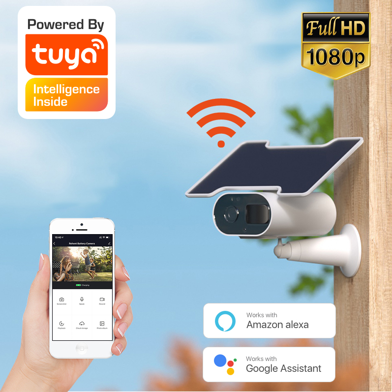 Tuya WiFi solar camera, support Alexa and Google, built in battery and two way Audio, outdoor waterproof, support cloud storage|Surveillance Cameras| - AliExpress