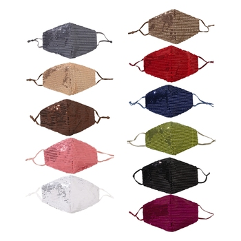 11Pcs/Set Adult Shiny Glitter Sequins 3-Layer Face Mask with Replaceable Filter Pocket Dustproof Washable Adjustable Ear Loops D