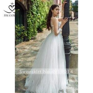 Image 3 - Áo CướI Người Yêu Appliques Chữ A Tay Dài Hoa Đầm Vestido De Novia 2020 Ảo Ảnh Công Chúa Swanskirt GY25 Áo Dài Cô Dâu