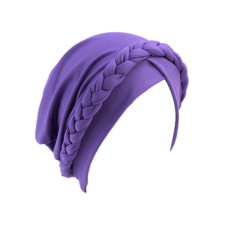 Hd31d2d1d054640379aaaf50d99824ad1i - NEW arrival Retro Women Braid India caps Muslim Cancer Chemo full cover-up  Beanie Hair Loss Turban femme Wrap