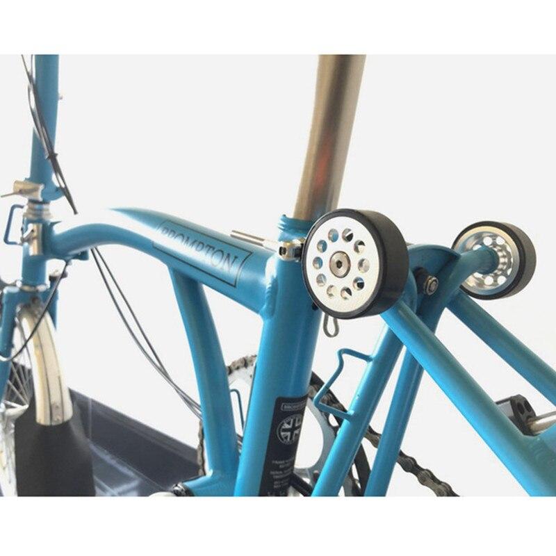 Metal Hollow Easy Wheel Double Bearing Easywheel Widened 46mm For Brompton Bike Easy Wheel + Titanium Screw Gold Silver Black