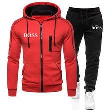 Yeni evet patron fermuarlı kapüşonlu kıyafet + pantolon iki adet erkek sonbahar kış setleri rahat eşofman erkek spor marka giyim eşofman