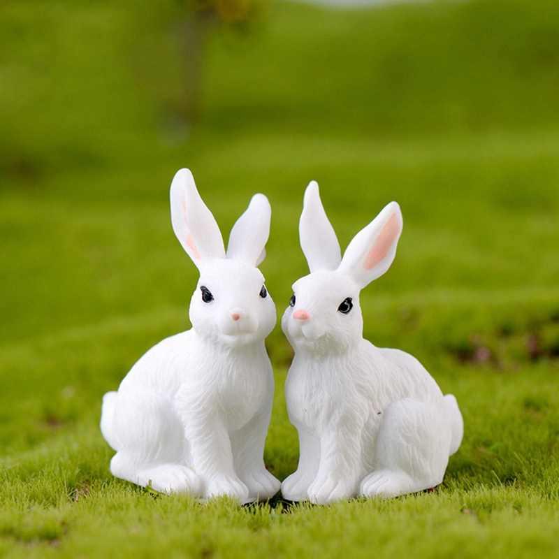 1 Uds. Adornos de conejo de resina Mini conejo de pascua modelo miniatura paisaje estatuilla artesanal de resina Mini adorno de conejito Jardín de hadas
