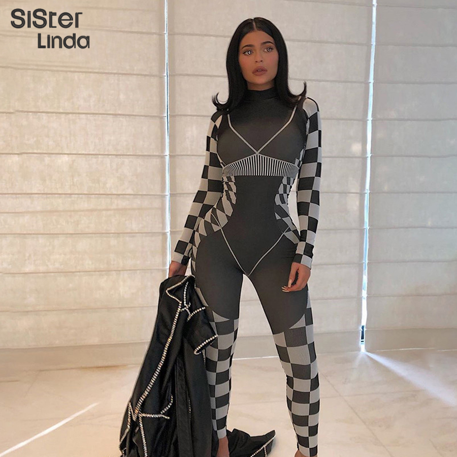 Sisterlinda Fashion 3D Print High Quality Jumpsuit Women Mujer Elastic Tracksuit Fitness Bodysuits Casual Street Black Outfits