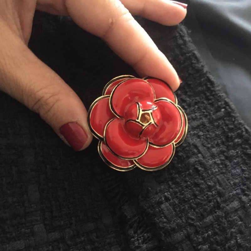 Alta qualidade de luxo camélia broche grande marca preto branco rosa mulher broches boutonniere presente jóias