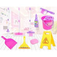 Cleaning Play Set Kids Role Play 6 Piece Broom Mop Bucket Dustpan