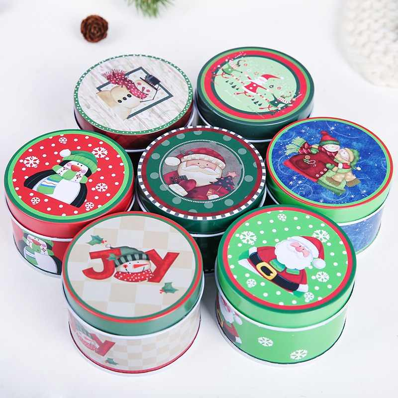 Christmas Printed Tin Box Cartoon Candy Can Snack Box Candy Cookie Pot Christmas Party Gift Box Storage Case Random Color