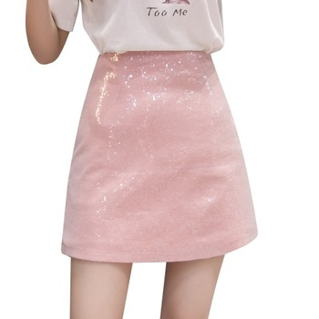 Summer New Women Skirt Sexy Thin Sequins High Waist Female Mini Skirt Fashion A-Line Casual Solid Ladies Hip Skirt High Quality black skirt female 2020 summer hip hop skirt was thin high waist a line short skirt female