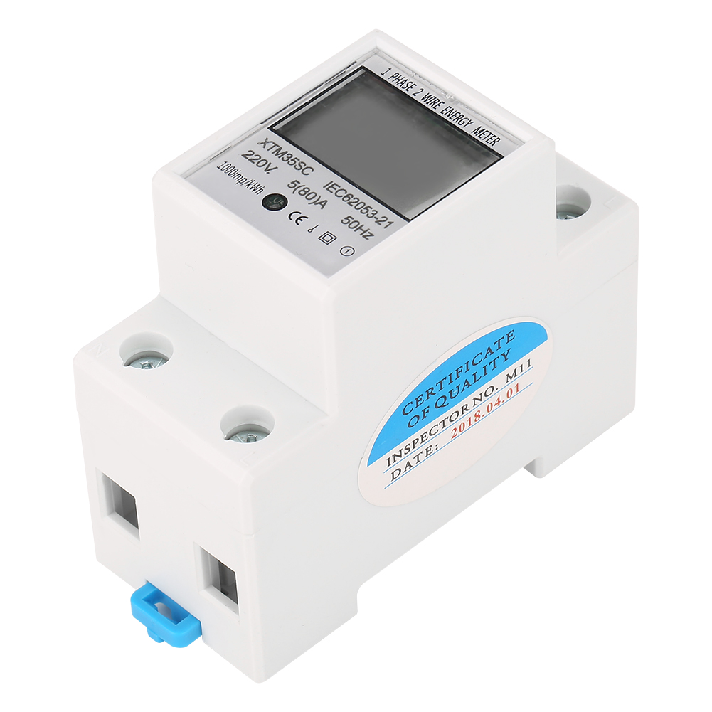 220V <font><b>5</b></font>(80)A Digital <font><b>1</b></font>-Phase <font><b>2</b></font> Wire 2P DIN-Rail Electric Meter Electronic KWh Meter Din Rail Energy Meter 220V Tool Discount image