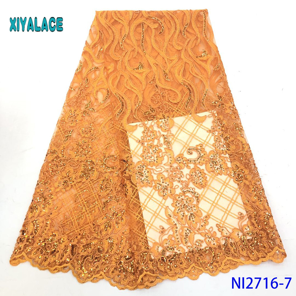 Golden African Lace Fabrics Organza Lace Fabric 2019 High Quality Nigerian French Tulle Lace With Net Lace Fabric YANI2716-7