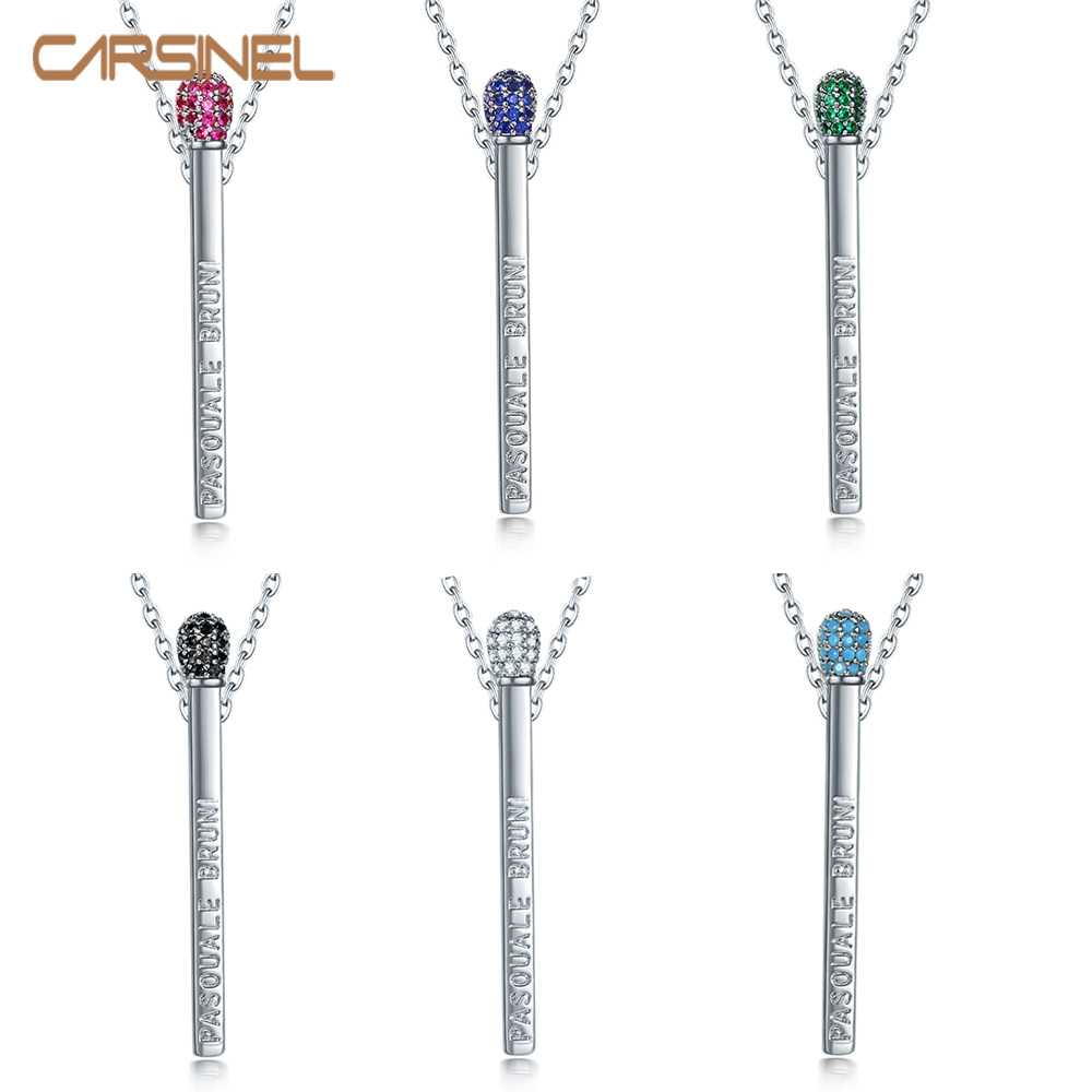CARSINEL Brand 14 Colors Colorful zircon Pendant Necklace for Women long chain Silver color Necklace Jewelry Gift NE0630