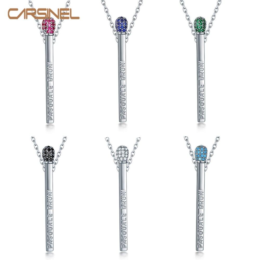 CARSINEL Marke 14 Farben Bunte zirkon Anhänger Halskette für Frauen lange kette Silber farbe Halskette Schmuck Geschenk NE0630