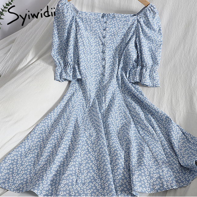 Syiwidii Floral Print High Waist Dresses Women Breasted Puff Sleeve Square Collar Zipper A-line Clothing 2021 Summer Fashion New 3