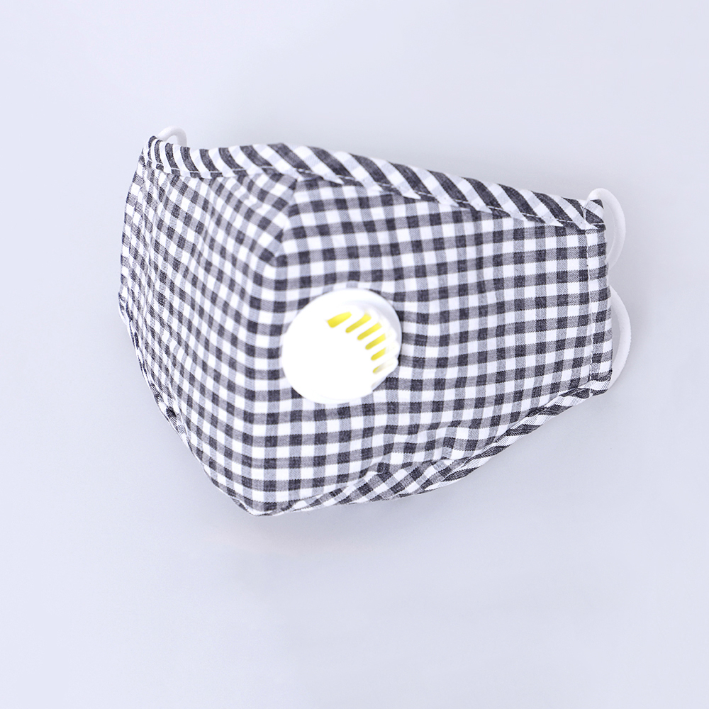 PM2.5 Mouth Mask Adult Anti Pollution Mouth Mask Dustproof Mask Breathable Carbon Filter Insert Face Mask Unisex Plaid Grid Mask