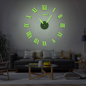 DICOR Frameless DIY Wall Clock, 3D Mirror Wall Clock Large Mute Wall Stickers for Living Room Bedroom Home Decorations Brand New 1