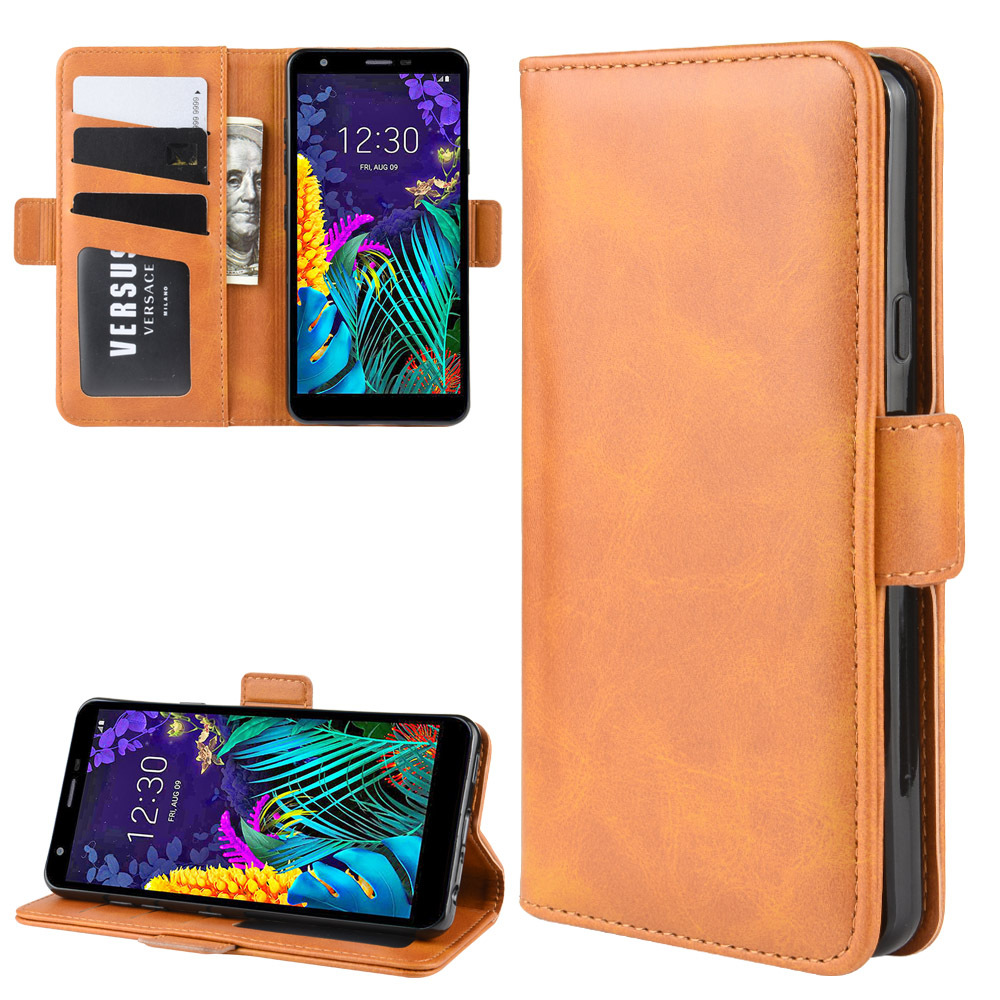 Double Buckle Side Suction Case For LG K30 2019 Flip Leather Cover Case Wallet Style With Stand Function And Card Slots