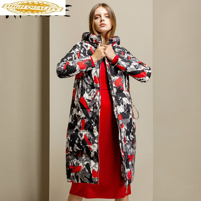 90% White Duck Down Coat Women Korean Print Winter Coat Women Hooded Warm Paka Long Women Down Jacket Abrigos Y9204 YY1552