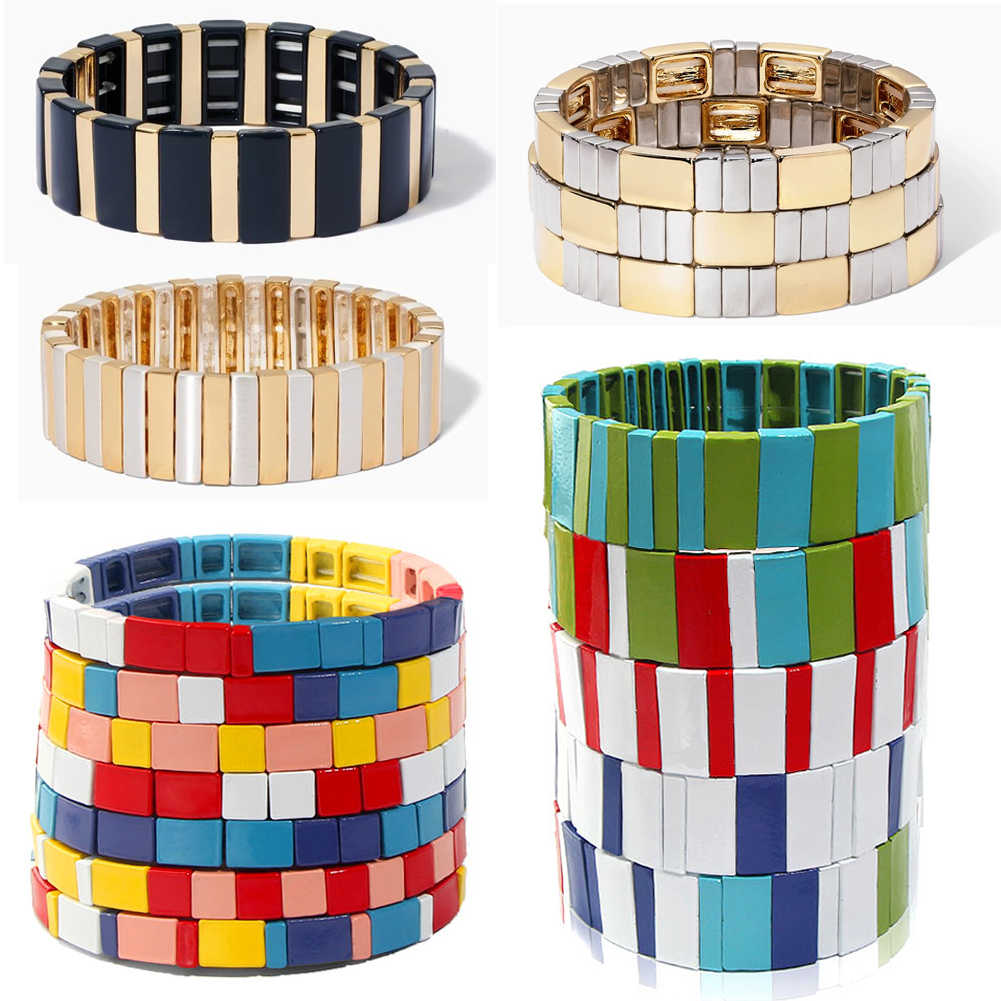 JUST FEEL Gold Color Enamel Bracelet Rainbow Tile Fashion Elasticity Stacking Bangles Bracelet for Women Party Jewelry Pulsera