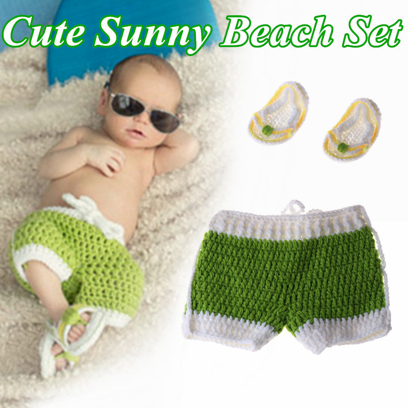 Baby 0-3 Months Photography Costume Cute Sunshine Beach Suit Hand Woven Photo Suit  Newborn Photography Props