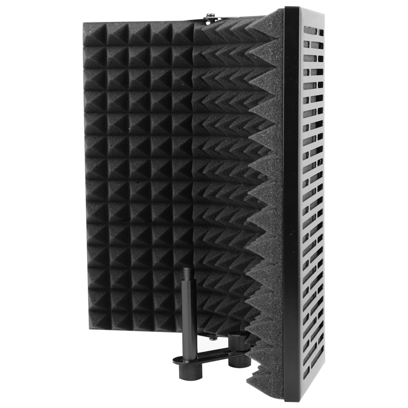 Black Foldable Microphone Isolation Shield, Adjustable Studio Recording Studio Isolator Foam Acoustic Panels Noise-Absorbing