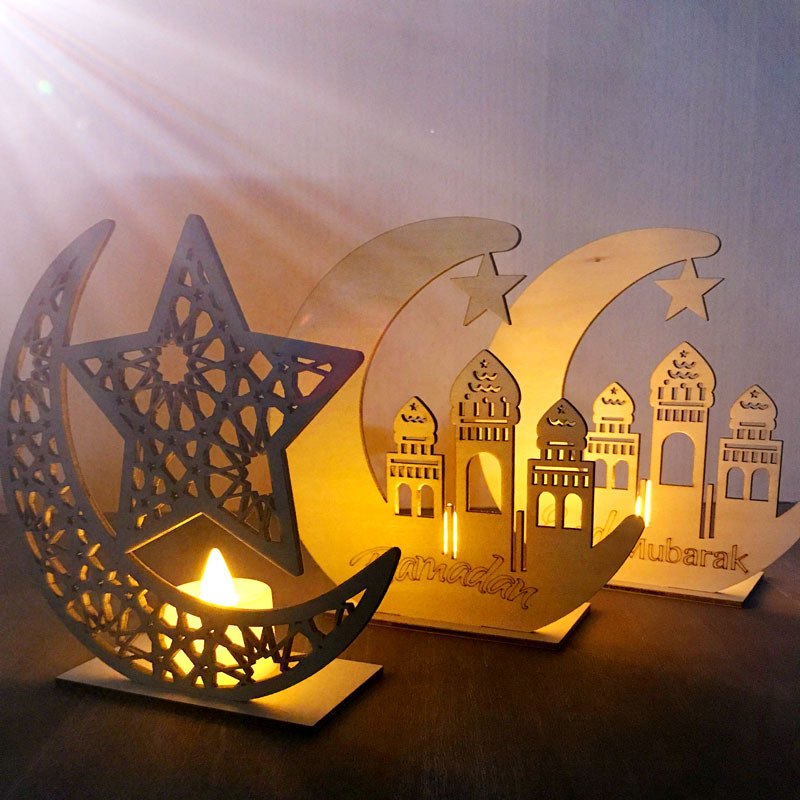 Ramadan Eid Mubarak Decorations for Home Moon LED Candles Light Wooden Plaque Hanging Pendant Islam Muslim Event Party Supplies