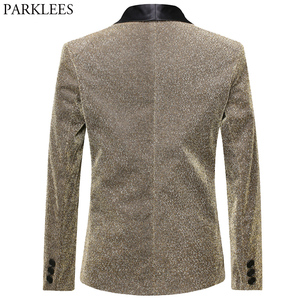 Image 2 - Gold Silk Blazer Men Single Button Shawl Collar Mens Blazers Jacket DJ Club Dance Party Stage Dazzling Blazer Masculino Outwear