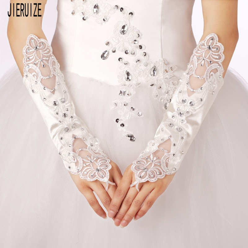 JIERUIZE 2020 Wedding Gloves White Fingerless Lace Applique Crystals Elbow Length Wedding Dress Accessories Bridal Gloves