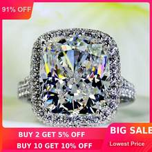 Big Jewelry Women ring cushion cut 10ct AAAAA zircon cz 14KT White Gold Filled Female Engagement Wedding Band Ring Gift(China)