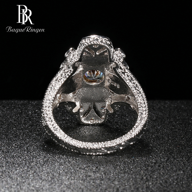Bague Ringen Geometry Silver 925 Jewelry Gemstones Ring for Women Sapphire Ruby Exaggerated style Female Gift Wholesale Party 6